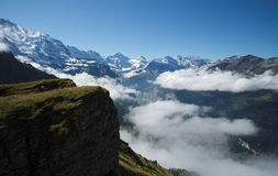 View from Mannlichen at the Bernese Alps (Berner Oberland, Switzerland). The Mannlichen is a mountain (2,343 metre) in the Swiss Alps located within the Canton Stock Images