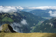 View from Mannlichen at the Bernese Alps (Berner Oberland, Switzerland). The Mannlichen is a mountain (2,343 metre) in the Swiss Alps located within the Canton Royalty Free Stock Image