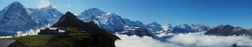 View from Mannlichen at the Bernese Alps (Berner Oberland, Switzerland). The Mannlichen is a mountain (2,343 metre) in the Swiss Alps located within the Canton Royalty Free Stock Photography