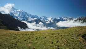 View from Mannlichen at the Bernese Alps (Berner Oberland, Switzerland). The Mannlichen is a mountain (2,343 metre) in the Swiss Alps located within the Canton Stock Photos