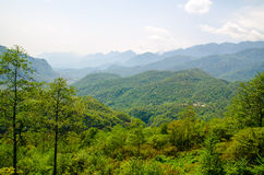 View of many moutain from Sapa highland city Stock Image