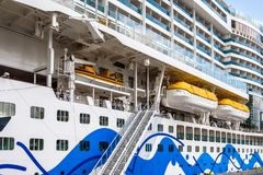 View at the many 16 passenger decks of the ultramodern cruise royalty free stock photo