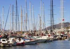 View of many yachts sailboats royalty free stock photo