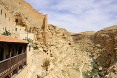 View from Mar Saba convent terace. Saint Sabbas monastery in Judea desert near Jerusalem, Israel stock photography