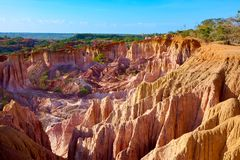 View of the Marafa Canyon in Kenya. Hells kitchens a gigantic canyon-shaped space caused by soil erosion stock photo
