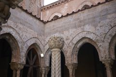 View of the marble fountain. Monreale, Italy - September 11, 2018 : View of the marble fountain or monks lavatorium in Monreale cathedral cloister royalty free stock photos