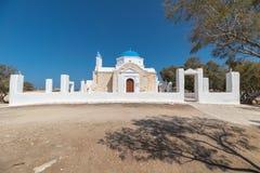 Marcello beach and Agios Fokas - Cyclades island - Aegean sea - Paroikia Parikia Paros - Greece. View of Marcello beach and Agios Fokas - Cyclades island stock photography