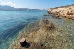 Marcello beach - Cyclades island - Aegean sea - Paroikia Parikia Paros - Greece. View of Marcello beach - Cyclades island - Aegean sea - Paroikia Parikia Paros stock photography