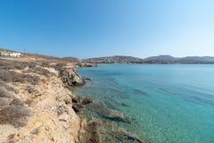 Marcello beach - Cyclades island - Aegean sea - Paroikia Parikia Paros - Greece. View of Marcello beach - Cyclades island - Aegean sea - Paroikia Parikia Paros royalty free stock image