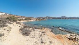 Marcello beach - Cyclades island - Aegean sea - Paroikia Pariki. View of Marcello beach - Cyclades island - Aegean sea - Paroikia Parikia Paros - Greece royalty free stock images