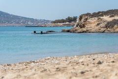 Marcello beach - Cyclades island - Aegean sea - Paroikia Pariki. View of Marcello beach - Cyclades island - Aegean sea - Paroikia Parikia Paros - Greece royalty free stock photos
