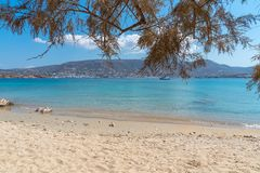 Marcello beach - Cyclades island - Aegean sea - Paroikia Pariki. View of Marcello beach - Cyclades island - Aegean sea - Paroikia Parikia Paros - Greece royalty free stock photography