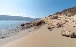 Marcello beach - Cyclades island - Aegean sea - Paroikia Pariki. View of Marcello beach - Cyclades island - Aegean sea - Paroikia Parikia Paros - Greece stock image
