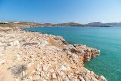 Marcello beach and Agios Fokas - Cyclades island - Aegean sea - Paroikia Parikia Paros - Greece. View of Marcello beach and Agios Fokas - Cyclades island stock image