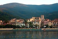 View Of Marciana Marina At Dusk, Elba Island Stock Photo
