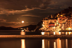 View of Marciana Marina in night Stock Image