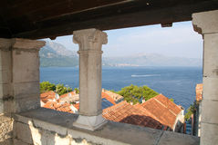 View from Marco Polo's house at the old town of Korcula Royalty Free Stock Photo
