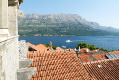 View from Marco Polo's house at the old town of Korcula Royalty Free Stock Image