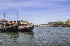 View of the margin Douro river embankment Oporto old town, Stock Image