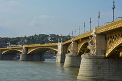 View of Margit hid, margit bridge in Budapest over Danube river Stock Images