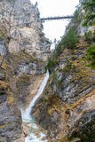 View of Marienbrücke over waterfall in Neuschwanstein Royalty Free Stock Photo