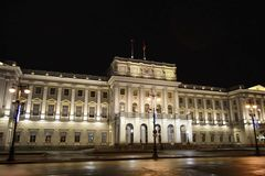 View of Mariinsky Palace at night Royalty Free Stock Photos