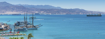 View on marina and the Aqaba gulf from Eilat Stock Images