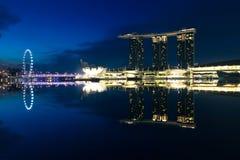 The view of Marina Bay area. Singapore, Singapore - July 17, 2013: The view of Marina Bay area in the early morning, July 17 2013 royalty free stock photo