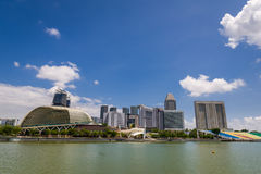 View of Marina Bay with blue sky Stock Photo