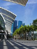 View of Marina Bay City area. With pedestrian and overseeing the marina bay financial center Royalty Free Stock Images