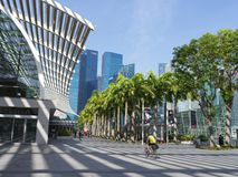 View of Marina Bay City area on a sunny day. View of Marina Bay City area with open space Stock Photo
