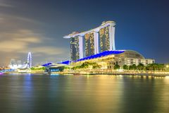 View of Marina Bay at night in Singapore City royalty free stock images
