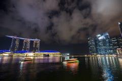 Marina bay at night, urban landscape of Singapore Stock Image