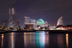 View of marina bay at night in Yokohama City Stock Photos