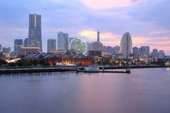 View of marina bay at night in Yokohama City Stock Image