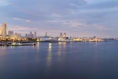 View of marina bay at night in Yokohama City Stock Photography