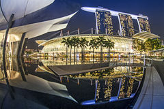 Marina Bay Sand Hotel with shadow Stock Images