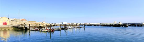 Peniche - Small Marina. View of the marina belonging to the Portuguese Lifesaving Institute Instituto de Socorros a Naufragos in Portugurse in the harbour of Royalty Free Stock Photos