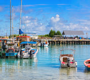 View of the marina of boats in beautiful sunny morning , La Passe, La Digue Island, Seychelles.  Stock Photography