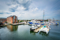 View of a marina in the Charles River, in Charlestown, Boston, M. Assachusetts Stock Images
