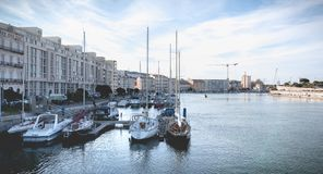 View of the marina in the city center of Sete, France. Sete, France - January 4, 2019: view of the marina in the city center where pleasure boats are parked on a stock photos