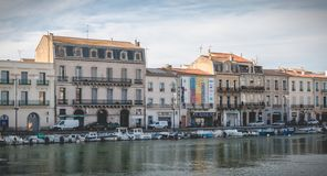 View of the marina in the city center of Sete, France. Sete, France - January 4, 2019: view of the marina in the city center where pleasure boats are parked on a royalty free stock photo