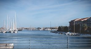 View of the marina in the city center of Sete, France. Sete, France - January 4, 2019: view of the marina in the city center where pleasure boats are parked on a royalty free stock images