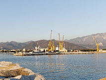 view of marina di carrara harbour Stock Images