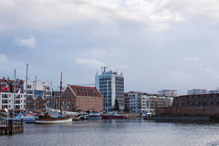 View of the marina in Gdansk on the Motlawa river. Stock Images