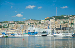 View of the marina, Genoa, Italy. Views of the marina and the coastal part of the city, Genoa, Italy Royalty Free Stock Photos