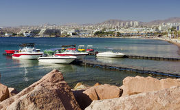 View on marina with moored boats in Eilat, Israel Stock Photography