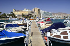 View on marina with moored yachts Stock Photos