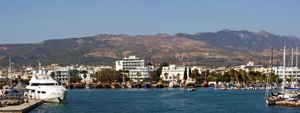 View on marina  with mountains in background Royalty Free Stock Image