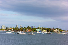 A view on marina near Palm Island and Miami Beach buildings on horizon. Royalty Free Stock Photo